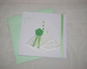 Green and white wedding congratulation card
