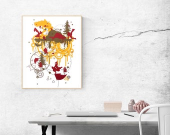 Silkscreen print by artist Freddi c