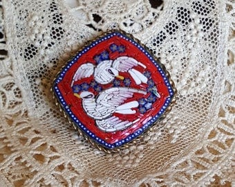 Antique Victorian Italian Micro Mosaic RARE Red Two White Pliny Doves Pin European Grand Tour Souvenir Brooch Italy Edwardian Jewelry Floral