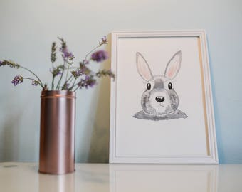 Watercolor print, art print, Frame NOT included, Watercolor Bunny, wall art,