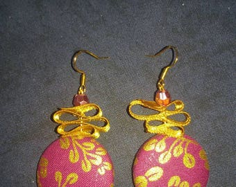 button earring and gold hooks