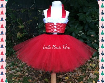 Little Miss Christmas Party outfit. Mrs Claus Xmas Tutu