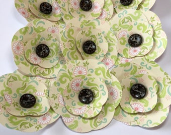 Paper Flowers, Cream/Lime/Blue/Pink (9)