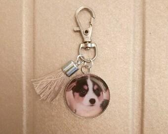Keychain cabochon resin epoxy cute puppy charm