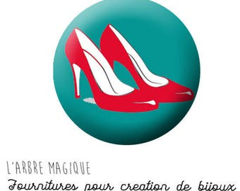 2 cabochons craft shoes heels red blue sea ref 854 - 20 mm glass.