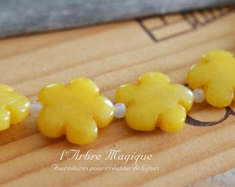 Flower 20 mm yellow jade