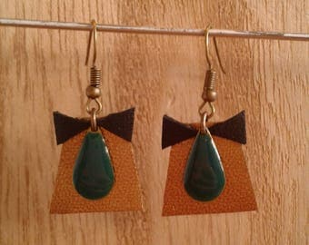 Trapeze cut gold leather, sequin drop earrings black gold leather bow