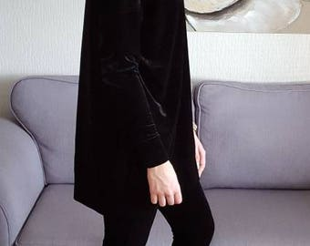 Velour long tunic style polo neck top. Including FREE shipping