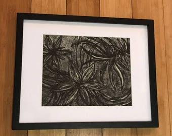 "Seaweed Handmade Charcoal Drawing, 11 x 14"" Frame, 8 x 10"" Matte"