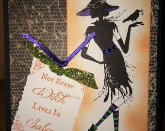 """Handmade Halloween """"Not every witch lives in Salem"""" cards"""