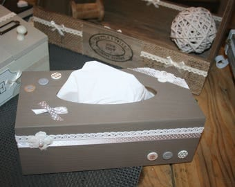 box with handkerchiefs shabby taupe polka dots and small flowers white lace