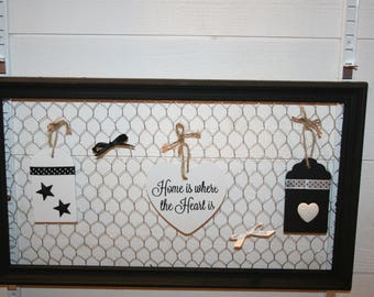 frame wire black and white houndstooth tags and heart