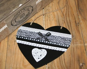 hanging heart black and white lace