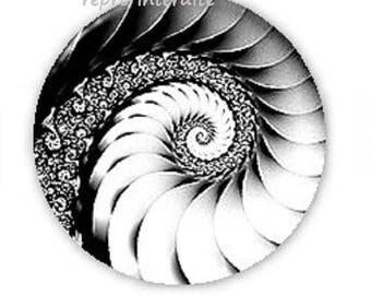 25mm, black and white swirl