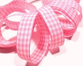 Pink gingham Ribbon 15mm by 195cm long