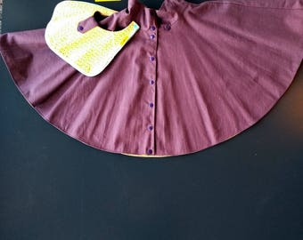 Spinning reversible skirt, removable, Eggplant and yellow Pocket