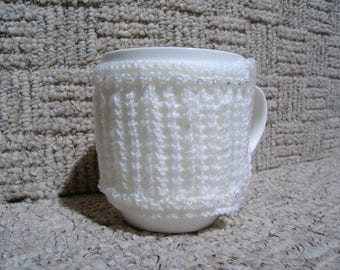 Pearl Wedding Anniversary Mug Hugs, Hand Knitted Gift