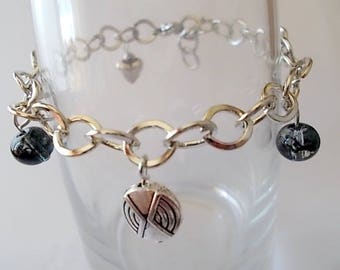 unique bracelet, large link chain, Pearl black and transparent beads, round, flat metal bead heart jewelry