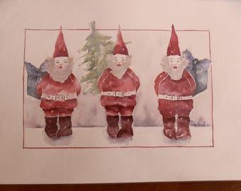 watercolor Christmas: 3 Santas
