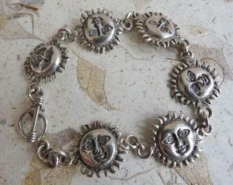 Vintage sterling silver Mexico sunshine concho link bracelet