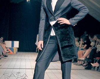 Elegant Blue - Black Coat, Wool and Fake Fur, Golden buttons, Modern design