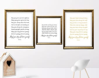 Black color print, May you stay forever young, Song Lyrics art, Nursery Decor, Bob Dylan Quote Print, Home Decor, Retro printable, set of 3