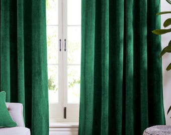 Velvet curtains etsy for Forest green curtains drapes
