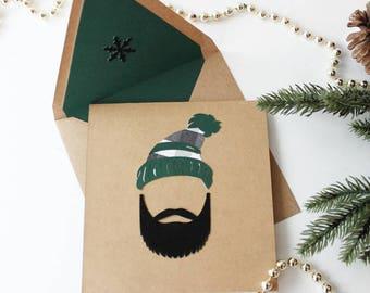 Christmas Holiday Beard and Hat Card- Handmade with Kraft Paper