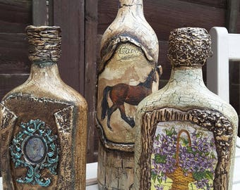 Decoupage bottle, Handmade, Home decor, Decorated glass bottle. Set of 3.