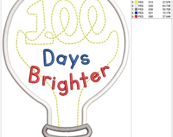 100 Days Brighter Applique Embroidery Design