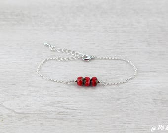 Beaded silver trio of red beads #1161