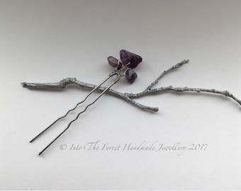 Amethyst semi precious crystal hair pin