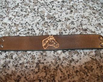 """Horse"" Brown Leather Bracelet"