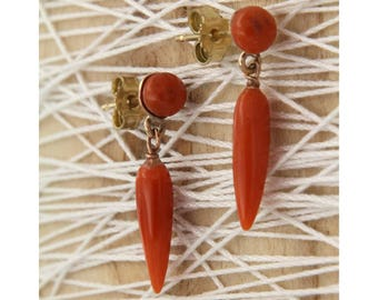 Rose gold earrings and coral of Sciacca, Italian, Italian handcraft Earrings natural Ruby Pendants
