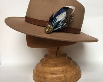 Cartridge and Feather Hat Pin or Brooch