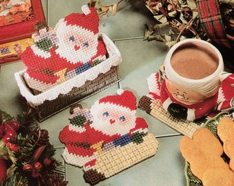 Up On The Housetop Coasters ~ Plastic Canvas ~ * * * Pattern Only * * *  ~ Really Cute ~ ~ ~