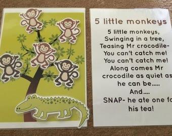 5 little monkeys song Board EYFS Childminder resources song time