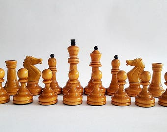 Soviet Tournament Chessmen, Vintage russian tournament chess pieces, Chess figures USSR, Wooden weighted chessmen set