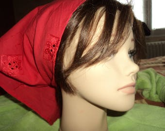 scarf red pure cotton with embroidery (bandana type)