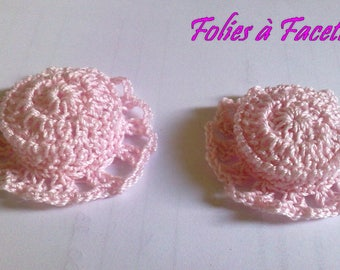 Two crocheted cotton pink straw hats