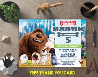 Secret Life of Pets Invitation, Secret Life of Pets Birthday, Secret Life of Pets Invites, Party Printables, FREE 4x6 Thank You Card