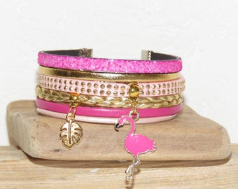 "pastel pink leather Cuff Bracelet, pink and gold - pink Flamingo charms and leaf ""Flamingo Pink"""