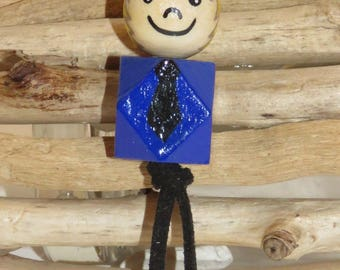 "Keychain with wooden beads ""smile ball"" fully customizable and hand painted boy figurine"