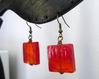 Orange rectangle Pearl Earrings pop - ethnic - sour candy