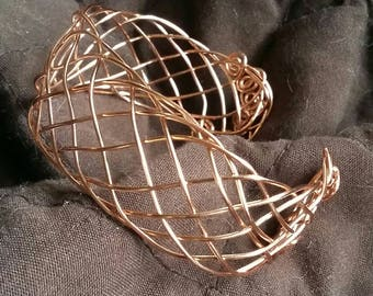 Copper 9 wire braided bracelet cuff