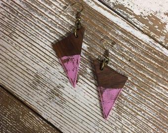 Wooden Earrings, Mahogany Pink Triangles, Girly Earrings, Handmade Earrings