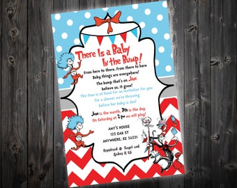 Dr Seuss Baby Shower Invitation, Dr Seuss Cat in the Hat Party Invitation, Baby Boy Baby Girl Shower Invitation,  Printable Invitation