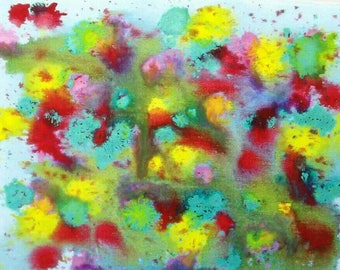 VIBRANT INKS on canvas SPLATTERED flower bed!!! Medium canvas