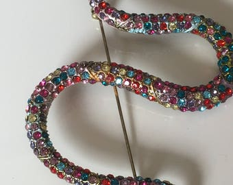 Snake brooch, serpent brooch, crystal brooch,