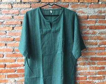 Short Sleeved Shirt , Green Shirt , Green cotton , Shirt vintage